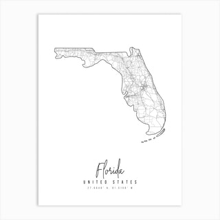 Florida Minimal Street Map Art Print