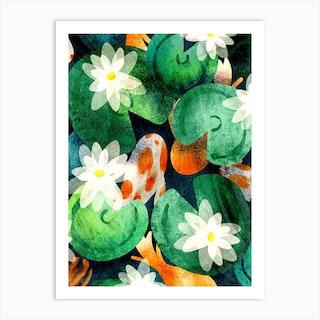 Koi Pond And Water Lilies Art Print