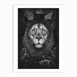 Lion In Tropical Leaves Art Print