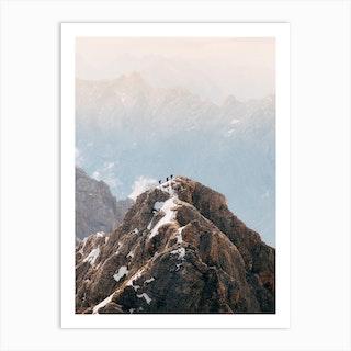 3 Mountain Hikers Art Print