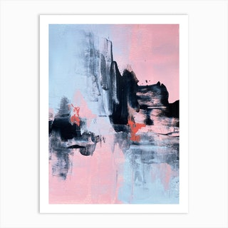 Pink And Grey Abstract 1 Art Print