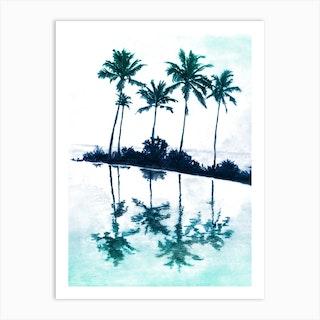 Palm Tree Reflections Teal Art Print