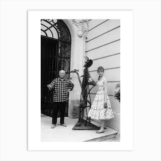 Brigitte Bardot And Pablo Picasso At Villa Californie Art Print