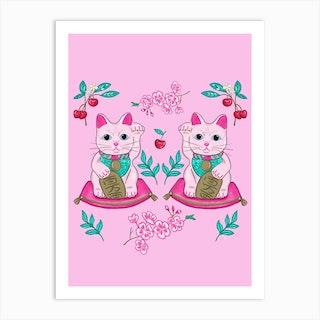 Good Luck Cats Art Print
