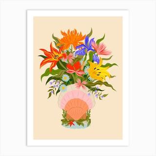 Saint Jacques Shell Flower Bouquet Art Print