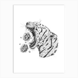 Tiger With Peonies Art Print