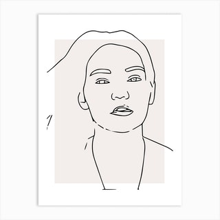 Woman Hair Outline Art Print