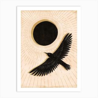 Raven And A Black Sun Art Print