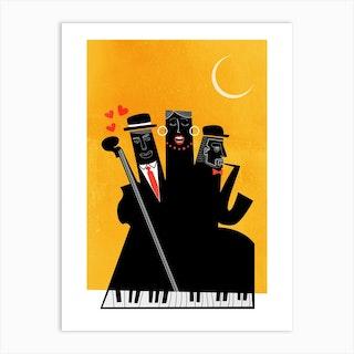 Casablanca Jazz Yellow Art Print