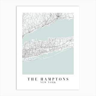 The Hamptons New York Street Map Minimal Color Art Print