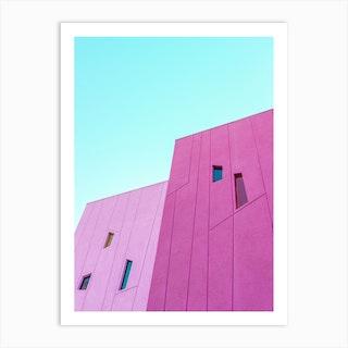 Saguaro Hotel Pink Building Walls In Palm Springs Art Print