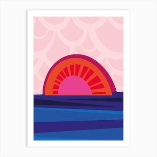 Retro Sunset Art Print