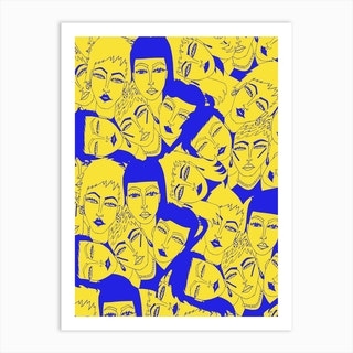 Yellow And Blue Faces Art Print