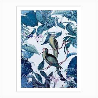 Blue Tropical Birds Art Print