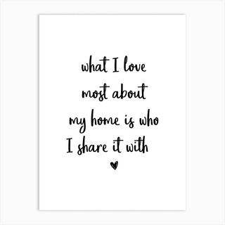 What I Love Most About My Home Art Print
