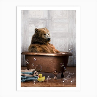 Bear In A Bathtub Art Print