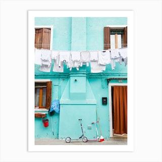 Turquoise Washing Burano Art Print