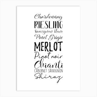 Wine Types Typography Art Print