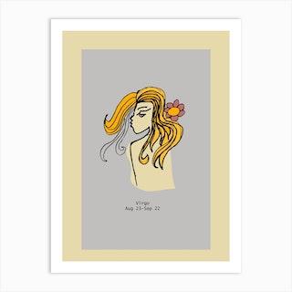 Retro Zodiac Virgo Rectangular Art Print