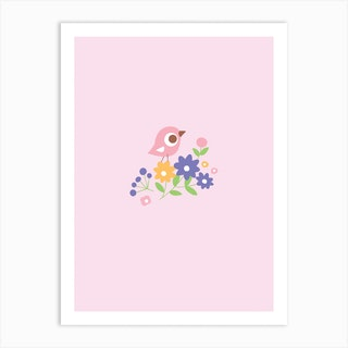 Little Bird On Flowers Art Print
