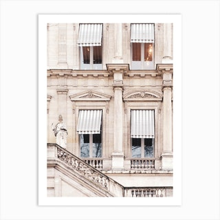 Paris Building With Striped Awnings Art Print