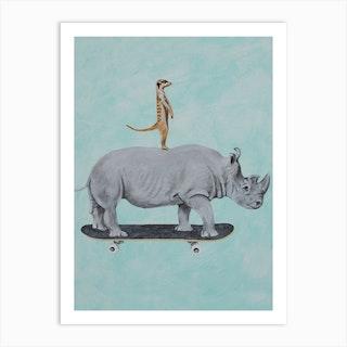 Rhinoceros And Meerkat Skateboarding Art Print