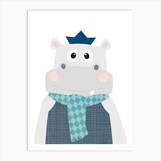 Hippopotamus With Blue Scarf Art Print