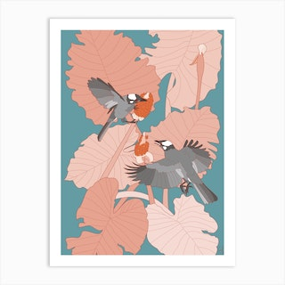 Grey Birds With Pink Leaves Art Print