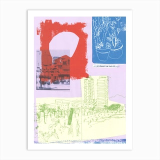 Barcelona Collage Art Print
