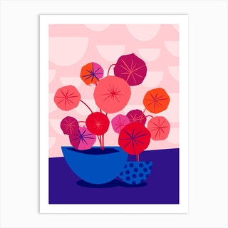 Pileas In Red And Pink Art Print