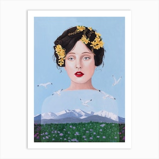 Lady Surrealist With Mountain And Seagulls Art Print