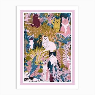 Garden Cats Art Print