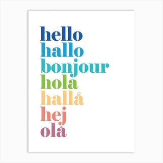 Hello Hallo Colours Art Print