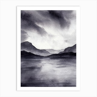 Mountains Monochrome Art Print