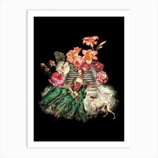 Marie Antoinette Sitting On Stairs With Dog And Flowers Art Print