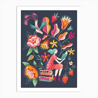 Folk Art Garden Reading Art Print