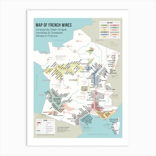 French Map Of Wine Regions And Vineyards Art Print