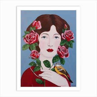 Woman With Roses And Bird Art Print