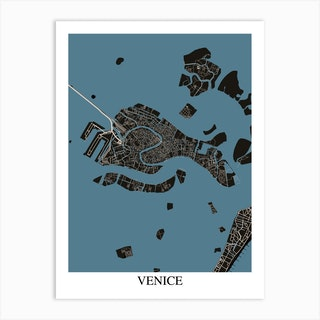 Venice Black Blue Art Print