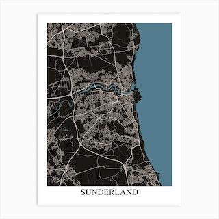 Sunderland Black Blue Art Print