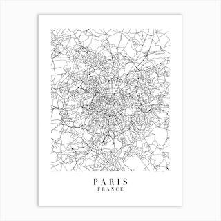 Paris France Street Map Minimal Art Print