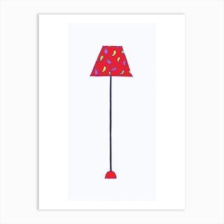Standing Lamp Red Shade Art Print