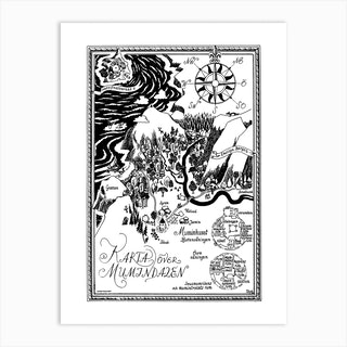 The Moomin Drawings Collection Moomin Valley Map Art Print