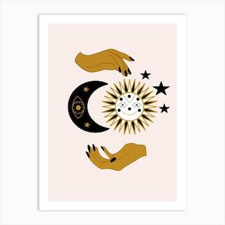 Hands Sun Moon And Stars Art Print
