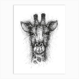 Scribble Giraffe Art Print