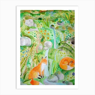Dreaming Earth Mother With Foxes Art Print