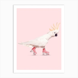 Rollerskating Cockatoo Art Print