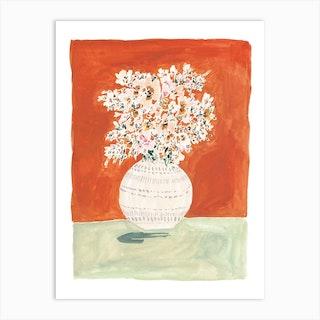 Burnt Orange And Mint Floral Vase Art Print