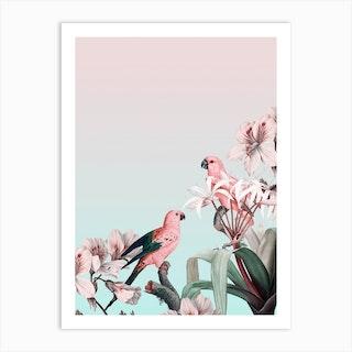 Pastel Parrots Paradise Art Print