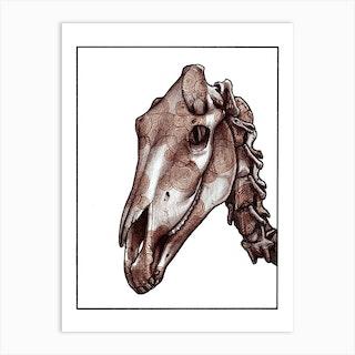 Horse Skull Red Art Print